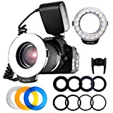 FOSITAN RF-600D 18 SMD LED Makro Blitzlicht Ringblitzleuchte für Nikon Canon Kamera DSLR mit LCD...