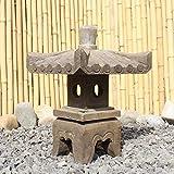 Asien Lifestyle Asiatische Steinlaterne (38 cm) aus Naturstein China Pagode Geisterhaus