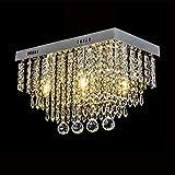 Moderne Kristall LED Deckenleuchte, 5-Licht Rechteck Tröpfchen Elegante Deckenleuchte, Chrom...