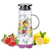 Wasserkaraffe,BOQO1.5L Glaskaraffe,Wasserkrug mit Blütenblatt Edelstahldeckel Karaffen(Glaskanne)