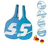Speedminton Beach Paddle Set Speedminton Robustes Holz Beach Paddle 2 Spieler Set - Incl. 2 Bällen...