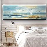 Natrliche Bootslandschaftslgemlde auf Leinwandplakaten und druckt Wandkunstbild fr Wohnzimmer ohne...
