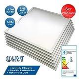 6x LED Panel, Deckenleuchte, 62x62cm, 3000lm, 4500K neutralwei, ultraslim, 36W, inkl. Trafo,...