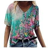 T-Shirt Damen Sommer Kurzarm Blusen Shirt V-Ausschnitte Loose Oversize Hemd Bluse Casual Bunte...