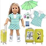 ZWSISU Puppenzubehör Reise-Set Puppenkoffer Handgepäck für 45,7 cm American Girl Puppenkleidung...