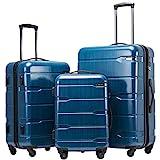 COOLIFE Koffer Reisekoffer Vergrößerbares Gepäck (Nur Großer Koffer Erweiterbar) PC + ABS...
