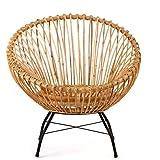 animal-design Rattanstuhl SANTIKA Korb-Stuhl oval Retro Vintage Sessel Lounge Esszimmer Küche...