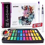 int!rend Aquarellfarbkasten, hochwertiges Aquarell-Farben-Set bestehend aus 36 Wasserfarben, 1...