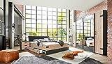 lifestyle4living Schlafzimmer Komplett Set in Silber Tanne-Dekor und Graphit, 4-teilig   Komplettset...