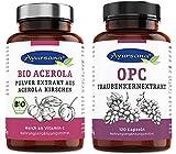 Ayursana - Traubenkernextrakt OPC (120 Kapseln) und BIO Acerola-Pulver (175g) | rein Vegan