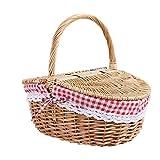 Andifany Wicker Picknick Korb im Land Haus Stil mit Deckel und Griff & Liner für Picknicks, Partys...