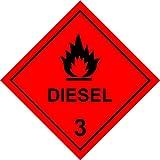Sicherheitsschild für gefährliche Substanzen, Diesel 3, selbstklebend, 100 mm x 100 mm