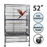 D4P Display4top Schwarzer großer Vogelkäfig aus Schmiedeeisen für Kakadu, Papagei, Kanarienvogel...