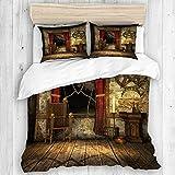 DAHALLAR Bettwäsche-Set,Mikrofaser,Mittelalterliche Kammer,1 Bettbezug 135x200 + 2 Kopfkissenbezug