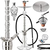 DILAW Rubin Shisha Edelstahl Silber V2A 93cm Hookah Big Size + LED Licht | Wasserpfeife Kaminkopf...