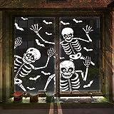 LessMo Halloween Fenster Sticker, 4 Stück Halloween Fenster Aufkleber, Gruseliges Skelett...