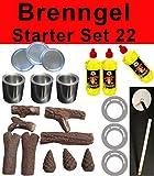 Brenngel Starter Set 22 teile Ethanol Keramikholz Brenngel Sparplatten Kamin