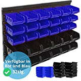 Panorama24 Wandregal + Stapelboxen | 32 tlg Box | BLAU | extra starke Wandplatten | Regal...