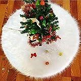 emlstyle Weihnachtsbaum Decke, Runde Form Schneeflocke Weiß Plüsch Christbaumständer Teppich (90...