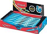 Maped – Packung mit 12 Textmarkern Fluo'Peps Pen, Farbe Blau, ideal für die Federmappe