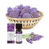 pajoma Lavendelset, 10x Duftsäckchen Lavendel plus 1x ätherisches Duftöl Lavendel, 10 ml, 100%...