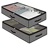 Dafooda 2 x atmungsaktive robuste Unterbettkommode, 100 x 50 x 18 cm (90 Liter) + Baumwollbeutel,...