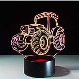 Traktor Motor Auto 3D-Deko-Licht Automobilform USB-Ladung Touch-Schalter Lampe Bunte Kinder...