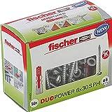 fischer DUOPOWER 6 x 30 S PH, Universaldübel mit Panheadschraube, 2-Komponenten-Dübel,...