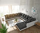 DELIFE Couch Clovis modular - Ecksofa, Sofa, Wohnlandschaft & Modulsofa (Schwarz/Weiss, Sofa XXL...