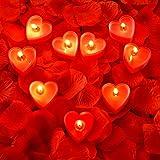 9 Packungen Herz Form Kerzen Romantische Liebe Kerze Teelicht Kerzen mit 200 Stück Seide Rose...