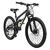 BIKESTAR Kinder Fahrrad Aluminium Fully Mountainbike 21 Gang Shimano, Scheibenbremse ab 9-14 Jahre |...