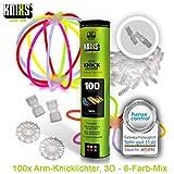 KNIXS - 100 Knicklichter, seit 10 Jahren in Profiqualitt | 100 3D-Verbinder | 2 extra Ballverbinder,...