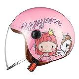FREEUP Kinder Motorradhelm Roller Helm jethelm mit Sonnenblende, Mädchen Rollerhelm Junge Mofa...