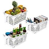 Weiße Handliche Aufbewahrungskörbe/Boxen mit Griffen 3er-Set - Kunststoff Küchen Organizer -...