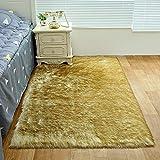 zhongyu Langer Wollteppich, Teppich aus Wollimitat, Teppich mit Sofamatte, Schlafzimmerteppich,...