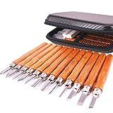 Cokomono Holz-Schnitzwerkzeug Set 12 Stück Schnitzmesser für Holz mit Schleifstein und Tasche...