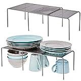 mDesign 4er-Set Regaleinsatz für Küchenschrank – praktische Geschirrablage aus Metall für mehr...