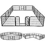 Yaheetech Welpenlaufstall Freigehege Welpenzaun Gehege Laufstall mit 2 Türen, aus 16 Panelen je...
