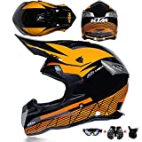 WRISCG Moto-Cross Full Face Helme Kind Off Road Motorrad Motorradhelm Set mit Schutzbrille...