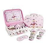 Lucy Locket Märchen Teeservice aus Zinn mit Koffer (14 STCK. Pinkes Geschirr zum Spielen)