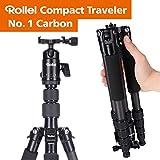 Rollei Compact Traveler No.1 I Carbon I Schwarz I Leichtes-Reisestativ I Foto-Stativ mit geringem...
