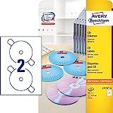 AVERY Zweckform L7676-25 selbstklebende CD-Etiketten (50 blickdichte CD-Aufkleber, Ø 117mm auf A4,...