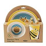 ORNAMI 5-teiliges Bambus-Geschirrset für Kinder, Biene Design - Kinder-Geschirrset mit Teller,...