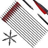 Narchery Pfeile, 31 Zoll Bogenpfeile Carbon Pfeile für Bogenschießen mit 5' Rot und Schwarz...