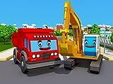 Rot Lastwagen und Gelb Bagger