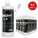 BIOHY Universal Flüssig-Entkalker 9 x 1 Liter Flaschen + Dosierer | Konzentrat für ca. 20...