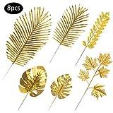 RAILONCH 8 Stück künstlich Golden Blätter Gefälschte Palmblatt Palme Monstera Kunstpflanze...