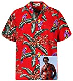 Tom Selleck Original Hawaiihemd, Kurzarm, Jungle Bird, Rot, S