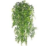MIHOUNION Knstliche Ivy Vine 2 Stcke Knstliche Aufhngen Vine Pflanzen Geflschte Kunststoff Grn Ivy...