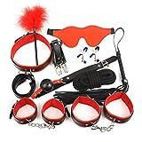 LBBDrrAL 10-Stück Leder SE'xx Spielzeug F-lírting Blindfold Federn Verstellbare Handschellen Kit...